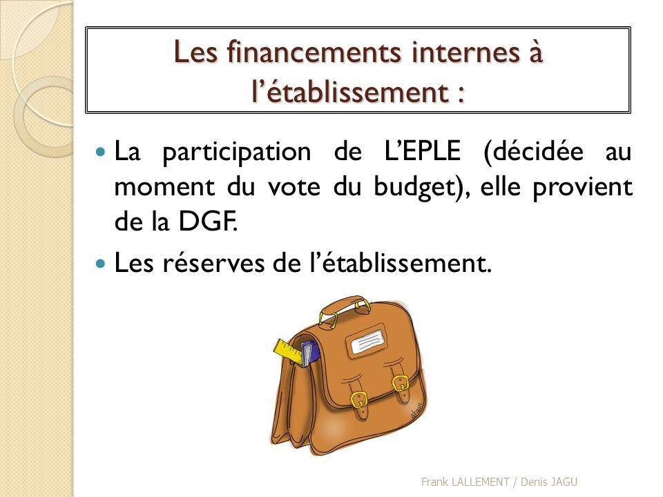 Les financements internes à létablissement : La participation de LEPLE (décidée au moment du vote du budget), elle provient de la DGF. Les réserves de