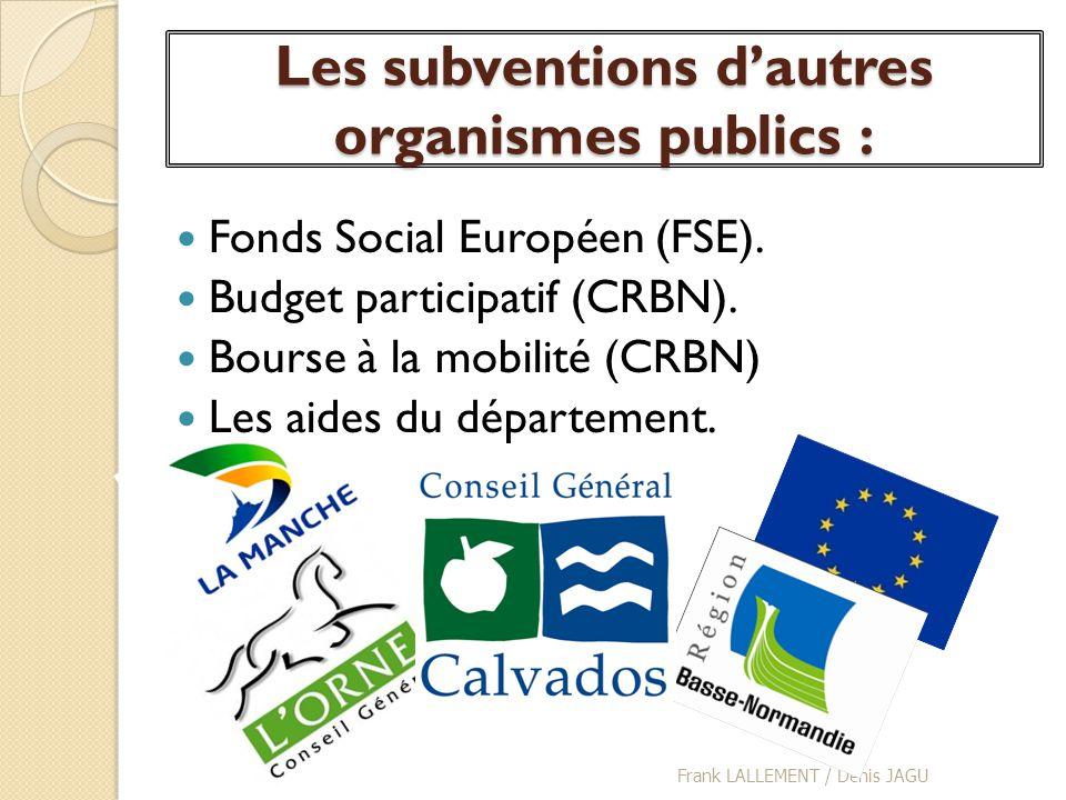 Les subventions dautres organismes publics : Fonds Social Européen (FSE). Budget participatif (CRBN). Bourse à la mobilité (CRBN) Les aides du départe