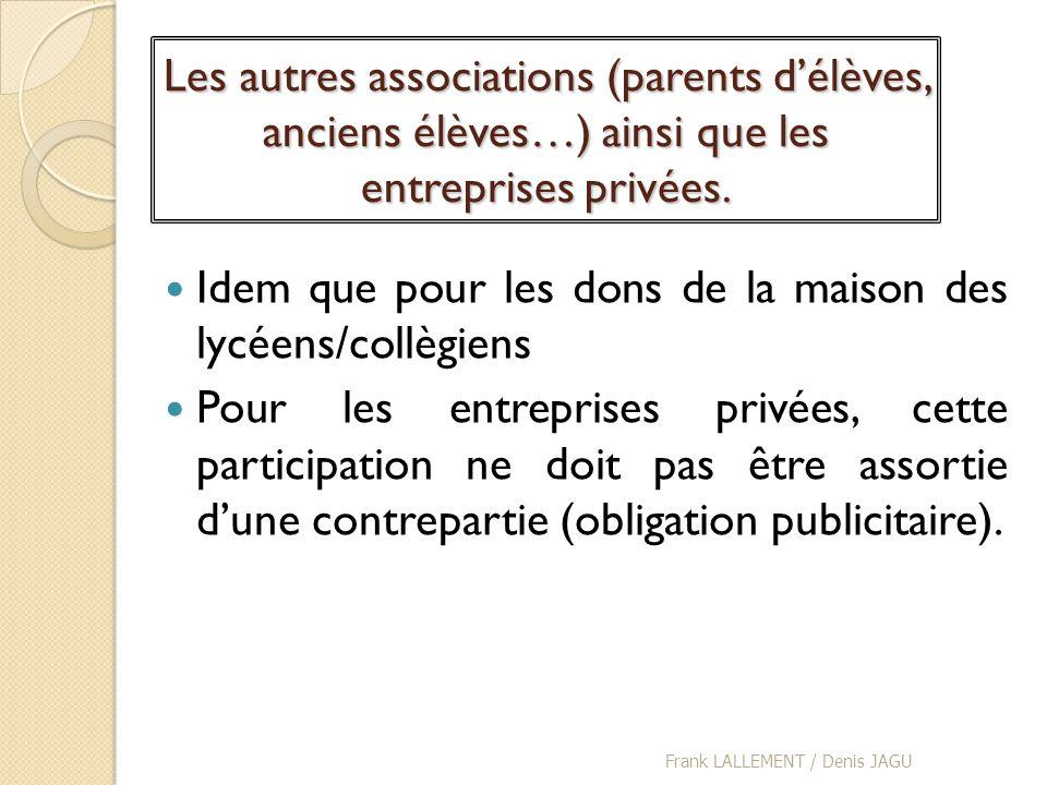 Les autres associations (parents délèves, anciens élèves…) ainsi que les entreprises privées. Idem que pour les dons de la maison des lycéens/collègie