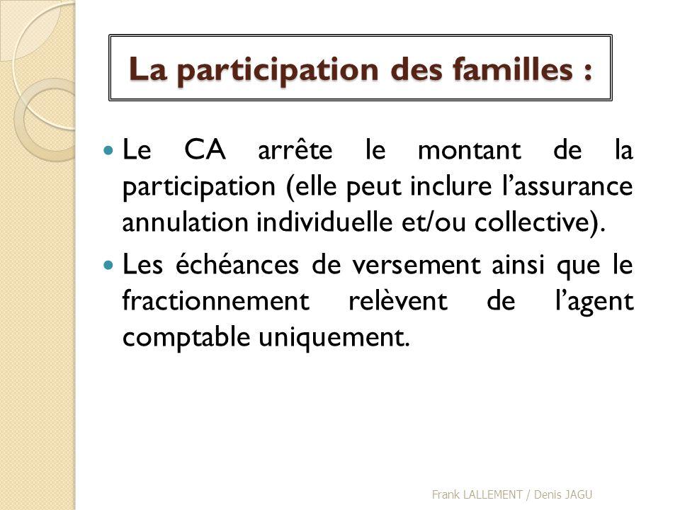 La participation des familles : Le CA arrête le montant de la participation (elle peut inclure lassurance annulation individuelle et/ou collective). L