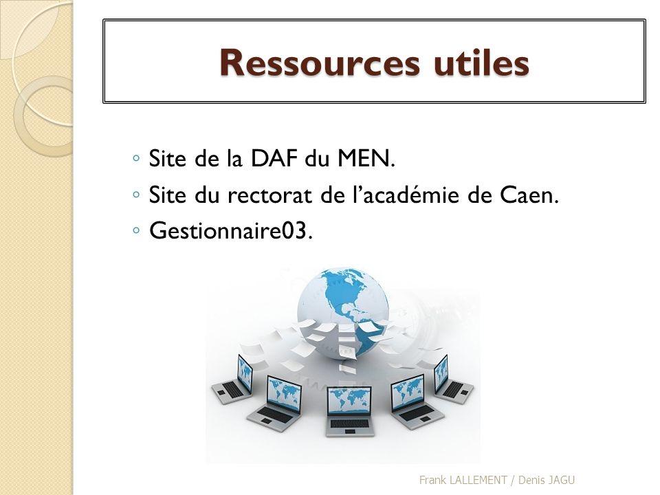 Ressources utiles Site de la DAF du MEN. Site du rectorat de lacadémie de Caen. Gestionnaire03. Frank LALLEMENT / Denis JAGU