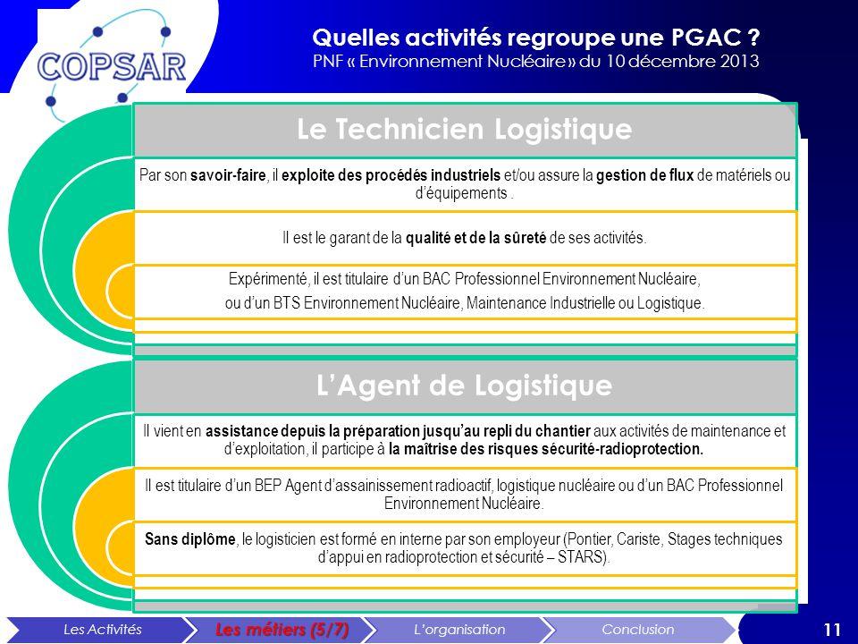 Quelles activités regroupe une PGAC ? PNF « Environnement Nucléaire » du 10 décembre 2013 11 Le Technicien Logistique Par son savoir-faire, il exploit