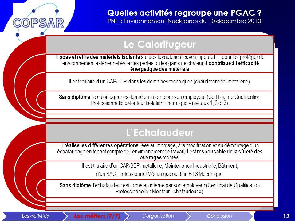 Quelles activités regroupe une PGAC ? PNF « Environnement Nucléaire » du 10 décembre 2013 13 Le Calorifugeur Il pose et retire des matériels isolants