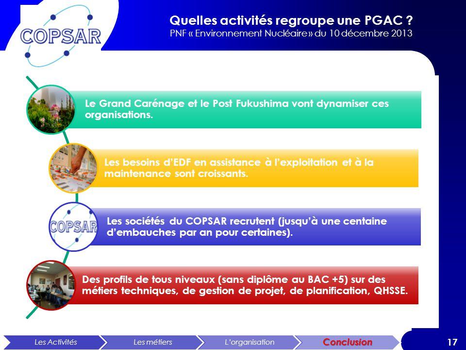 Quelles activités regroupe une PGAC ? PNF « Environnement Nucléaire » du 10 décembre 2013 17 Les ActivitésLes métiersLorganisationConclusion Le Grand