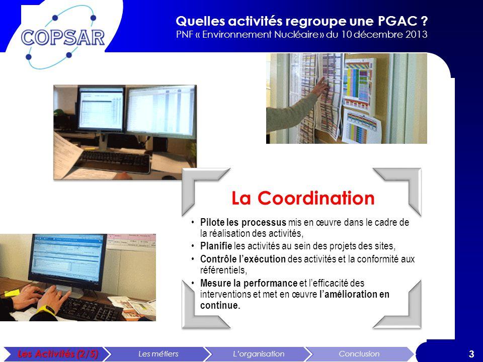 Quelles activités regroupe une PGAC ? PNF « Environnement Nucléaire » du 10 décembre 2013 3 La Coordination Pilote les processus mis en œuvre dans le