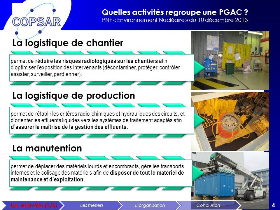 Quelles activités regroupe une PGAC ? PNF « Environnement Nucléaire » du 10 décembre 2013 4 La logistique de chantier permet de réduire les risques ra