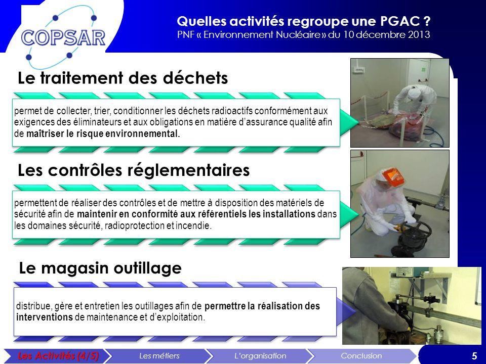 Quelles activités regroupe une PGAC ? PNF « Environnement Nucléaire » du 10 décembre 2013 5 Le traitement des déchets permet de collecter, trier, cond