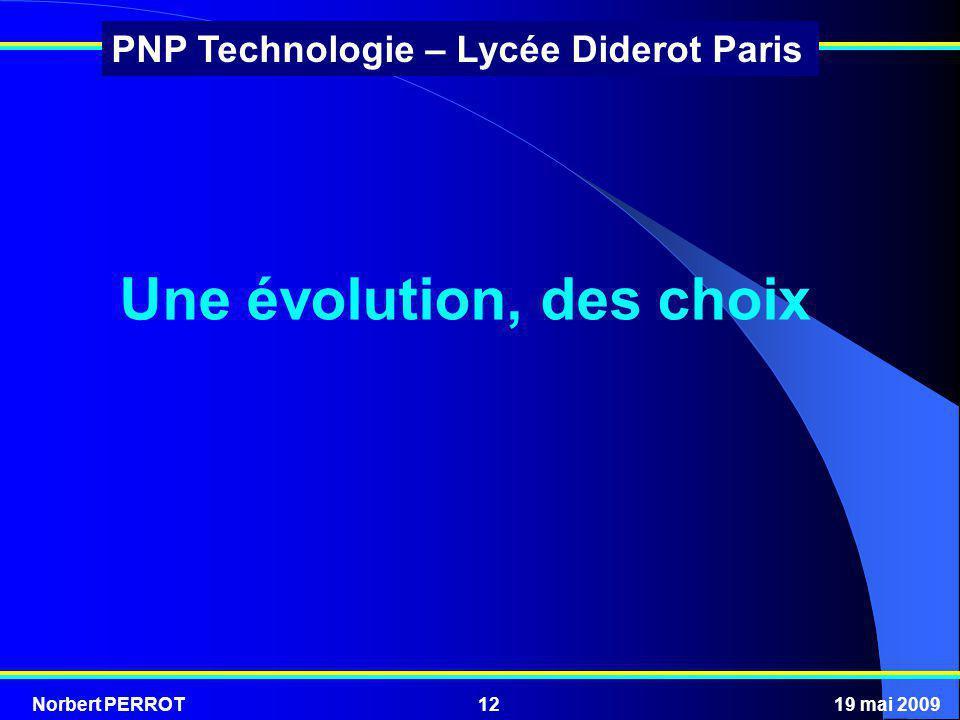 Norbert PERROT19 mai 200912 PNP Technologie – Lycée Diderot Paris Une évolution, des choix