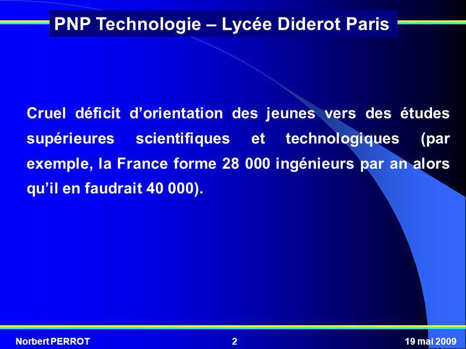 Norbert PERROT19 mai 20092 PNP Technologie – Lycée Diderot Paris Cruel déficit dorientation des jeunes vers des études supérieures scientifiques et te