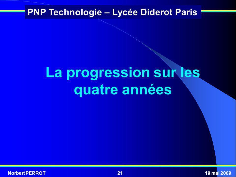 Norbert PERROT19 mai 200921 PNP Technologie – Lycée Diderot Paris La progression sur les quatre années