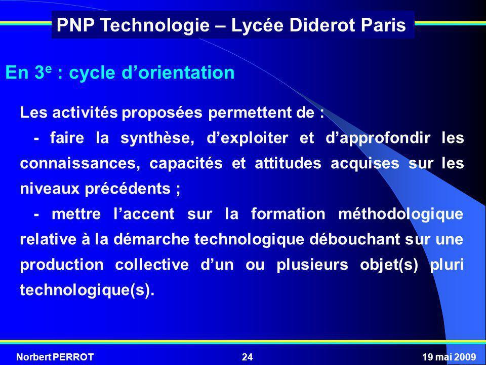Norbert PERROT19 mai 200924 PNP Technologie – Lycée Diderot Paris En 3 e : cycle dorientation Les activités proposées permettent de : - faire la synth
