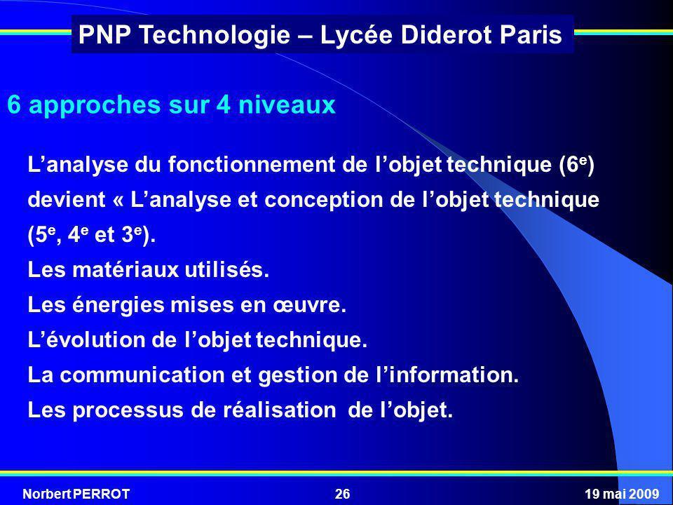 Norbert PERROT19 mai 200926 PNP Technologie – Lycée Diderot Paris 6 approches sur 4 niveaux Lanalyse du fonctionnement de lobjet technique (6 e ) devi