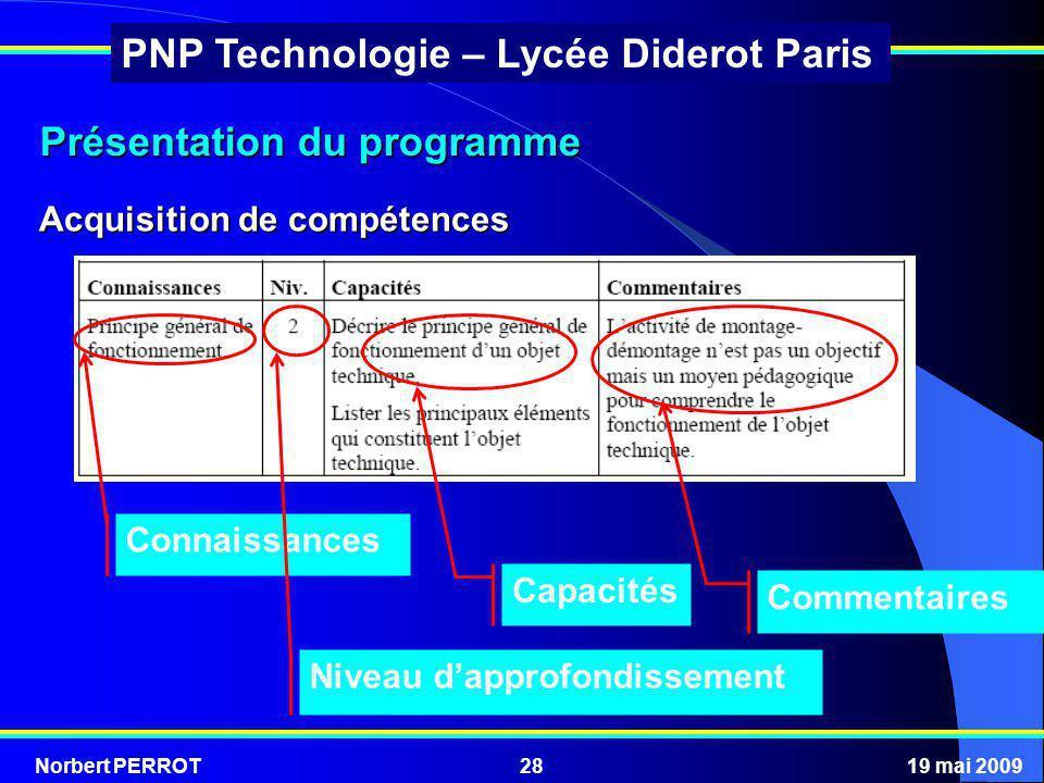 Norbert PERROT19 mai 200928 PNP Technologie – Lycée Diderot Paris Acquisition de compétences Présentation du programme Capacités Commentaires Connaiss
