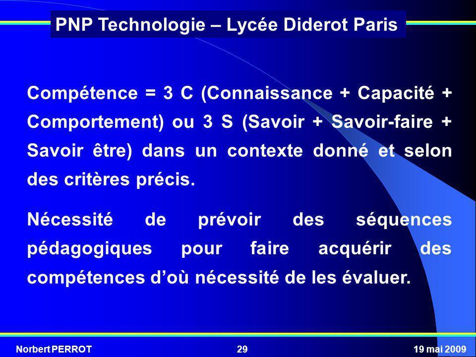 Norbert PERROT19 mai 200929 PNP Technologie – Lycée Diderot Paris Compétence = 3 C (Connaissance + Capacité + Comportement) ou 3 S (Savoir + Savoir-fa