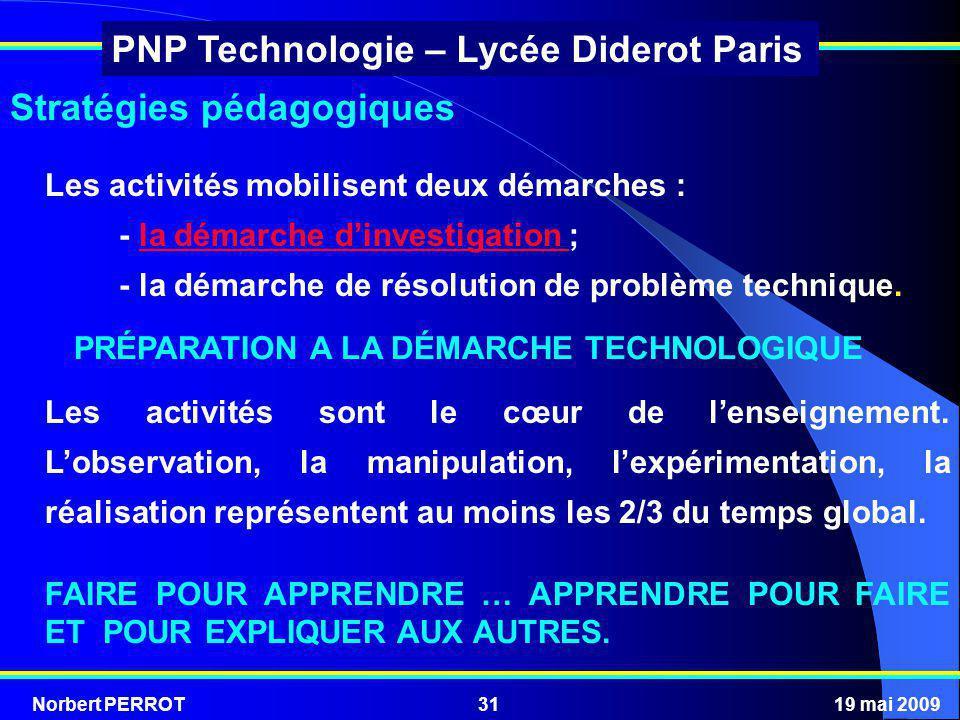 Norbert PERROT19 mai 200931 PNP Technologie – Lycée Diderot Paris Stratégies pédagogiques Les activités mobilisent deux démarches : - la démarche dinv