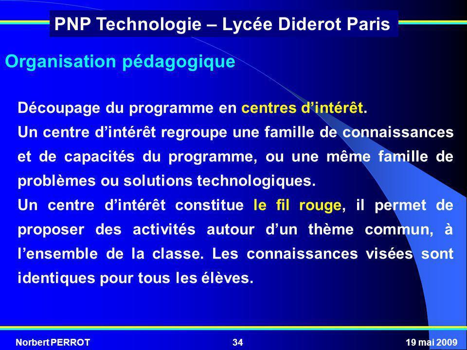 Norbert PERROT19 mai 200934 PNP Technologie – Lycée Diderot Paris Organisation pédagogique Découpage du programme en centres dintérêt. Un centre dinté