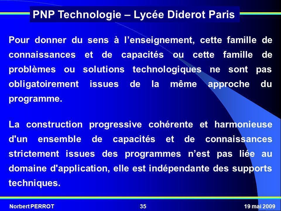 Norbert PERROT19 mai 200935 PNP Technologie – Lycée Diderot Paris Pour donner du sens à lenseignement, cette famille de connaissances et de capacités