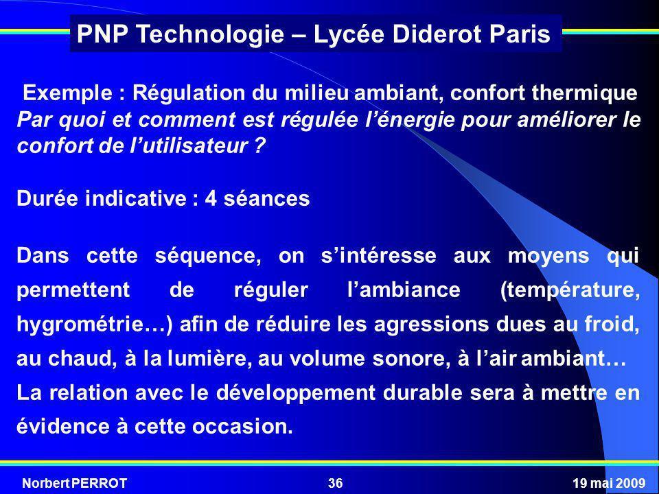 Norbert PERROT19 mai 200936 PNP Technologie – Lycée Diderot Paris Exemple : Régulation du milieu ambiant, confort thermique Par quoi et comment est ré