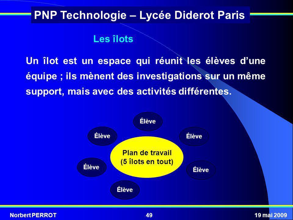 Norbert PERROT19 mai 200949 PNP Technologie – Lycée Diderot Paris Plan de travail (5 îlots en tout) Élève Un îlot est un espace qui réunit les élèves