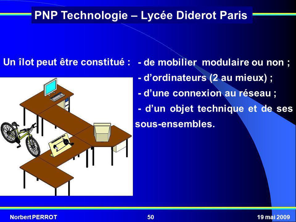Norbert PERROT19 mai 200950 PNP Technologie – Lycée Diderot Paris - de mobilier modulaire ou non ; - dordinateurs (2 au mieux) ; - dune connexion au r