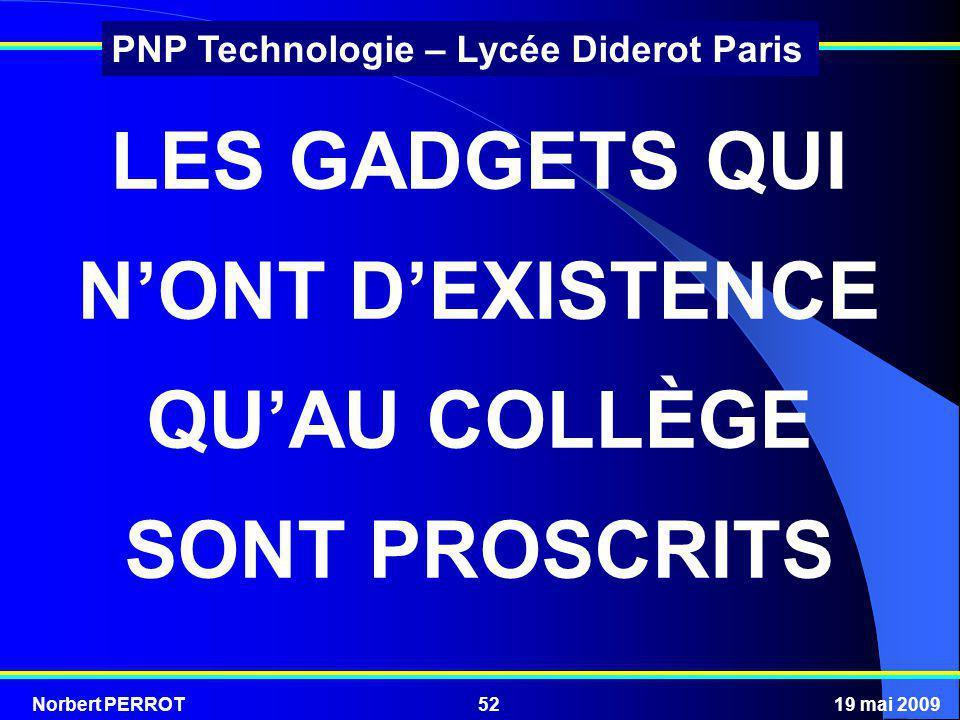 Norbert PERROT19 mai 200952 PNP Technologie – Lycée Diderot Paris LES GADGETS QUI NONT DEXISTENCE QUAU COLLÈGE SONT PROSCRITS