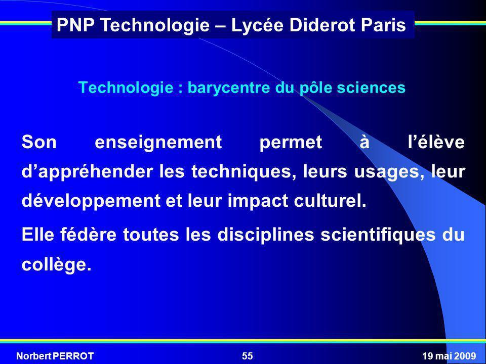 Norbert PERROT19 mai 200955 PNP Technologie – Lycée Diderot Paris Technologie : barycentre du pôle sciences Son enseignement permet à lélève dappréhen
