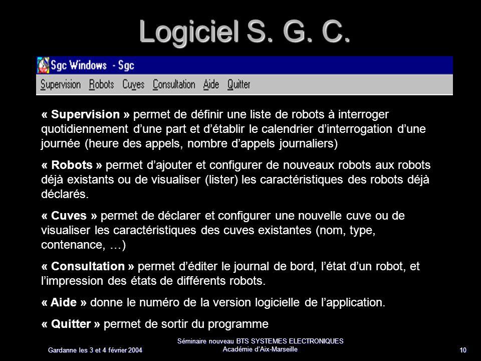 Gardanne les 3 et 4 février 2004 Séminaire nouveau BTS SYSTEMES ELECTRONIQUES Académie dAix-Marseille 10 Logiciel S. G. C. Système de mesure de niveau