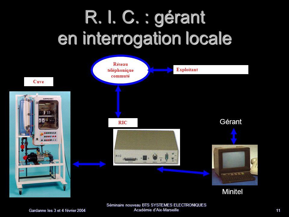 Gardanne les 3 et 4 février 2004 Séminaire nouveau BTS SYSTEMES ELECTRONIQUES Académie dAix-Marseille 11 R. I. C. : gérant en interrogation locale Rés