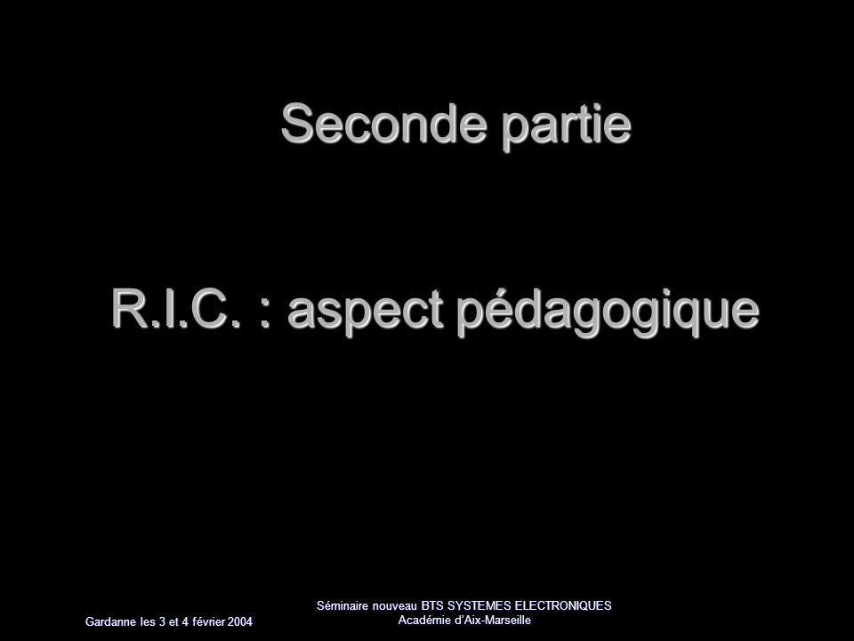 Gardanne les 3 et 4 février 2004 Séminaire nouveau BTS SYSTEMES ELECTRONIQUES Académie dAix-Marseille Seconde partie R.I.C.