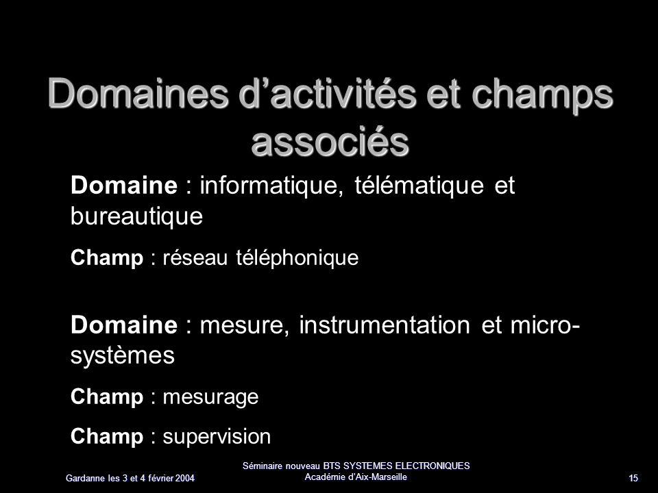 Gardanne les 3 et 4 février 2004 Séminaire nouveau BTS SYSTEMES ELECTRONIQUES Académie dAix-Marseille 15 Domaines dactivités et champs associés Domain
