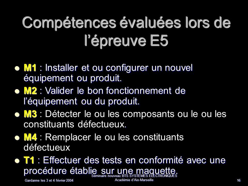 Gardanne les 3 et 4 février 2004 Séminaire nouveau BTS SYSTEMES ELECTRONIQUES Académie dAix-Marseille 16 Compétences évaluées lors de lépreuve E5 M1 : Installer et ou configurer un nouvel équipement ou produit.