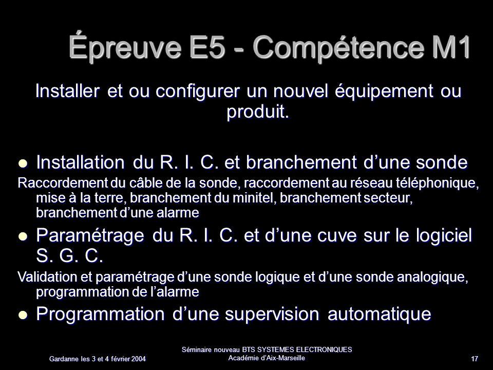 Gardanne les 3 et 4 février 2004 Séminaire nouveau BTS SYSTEMES ELECTRONIQUES Académie dAix-Marseille 17 Épreuve E5 - Compétence M1 Installer et ou configurer un nouvel équipement ou produit.