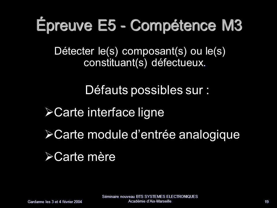 Gardanne les 3 et 4 février 2004 Séminaire nouveau BTS SYSTEMES ELECTRONIQUES Académie dAix-Marseille 19 Épreuve E5 - Compétence M3.