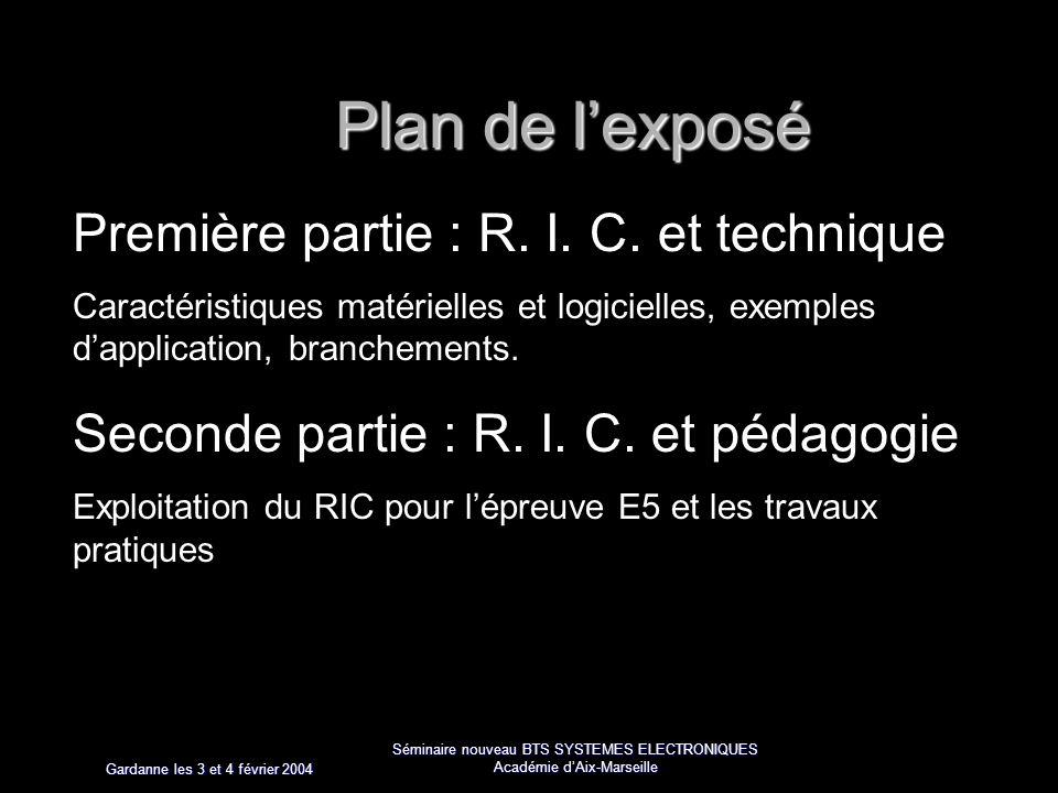 Gardanne les 3 et 4 février 2004 Séminaire nouveau BTS SYSTEMES ELECTRONIQUES Académie dAix-Marseille Plan de lexposé Première partie : R.