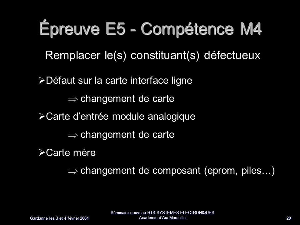 Gardanne les 3 et 4 février 2004 Séminaire nouveau BTS SYSTEMES ELECTRONIQUES Académie dAix-Marseille 20 Épreuve E5 - Compétence M4 Remplacer le(s) co