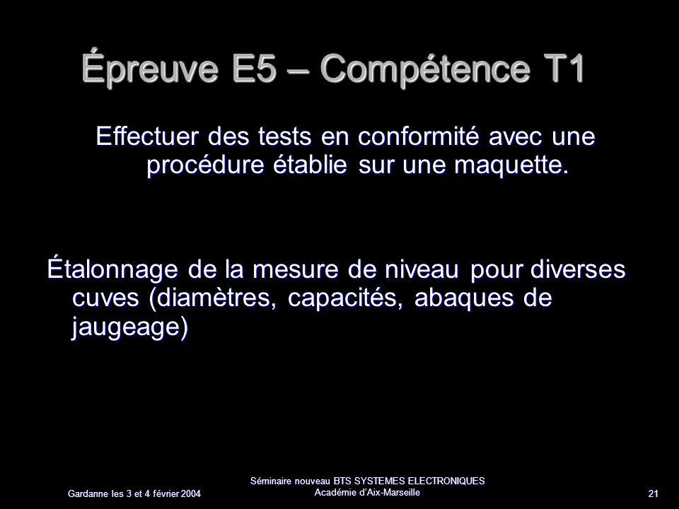 Gardanne les 3 et 4 février 2004 Séminaire nouveau BTS SYSTEMES ELECTRONIQUES Académie dAix-Marseille 21 Épreuve E5 – Compétence T1 Effectuer des tests en conformité avec une procédure établie sur une maquette.