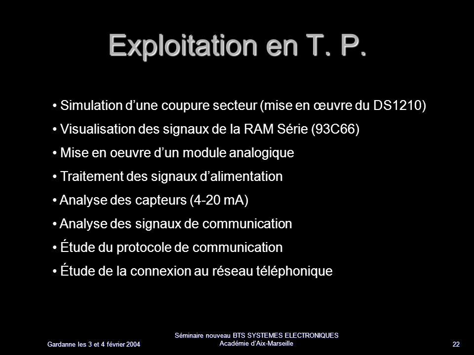 Gardanne les 3 et 4 février 2004 Séminaire nouveau BTS SYSTEMES ELECTRONIQUES Académie dAix-Marseille 22 Exploitation en T. P. Simulation dune coupure