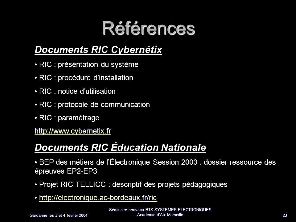 Gardanne les 3 et 4 février 2004 Séminaire nouveau BTS SYSTEMES ELECTRONIQUES Académie dAix-Marseille 23 Références Documents RIC Cybernétix RIC : pré