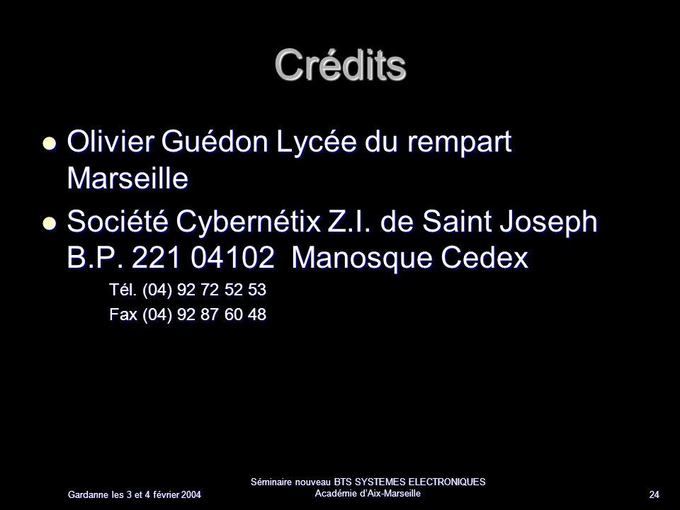 Gardanne les 3 et 4 février 2004 Séminaire nouveau BTS SYSTEMES ELECTRONIQUES Académie dAix-Marseille 24 Crédits Olivier Guédon Lycée du rempart Marse