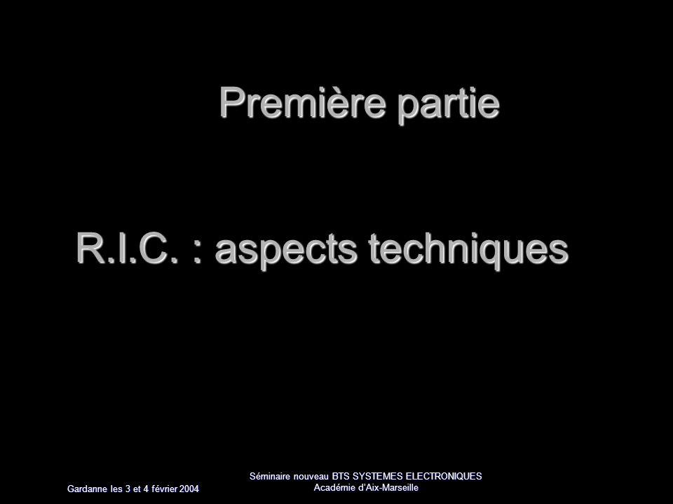 Gardanne les 3 et 4 février 2004 Séminaire nouveau BTS SYSTEMES ELECTRONIQUES Académie dAix-Marseille Première partie R.I.C.