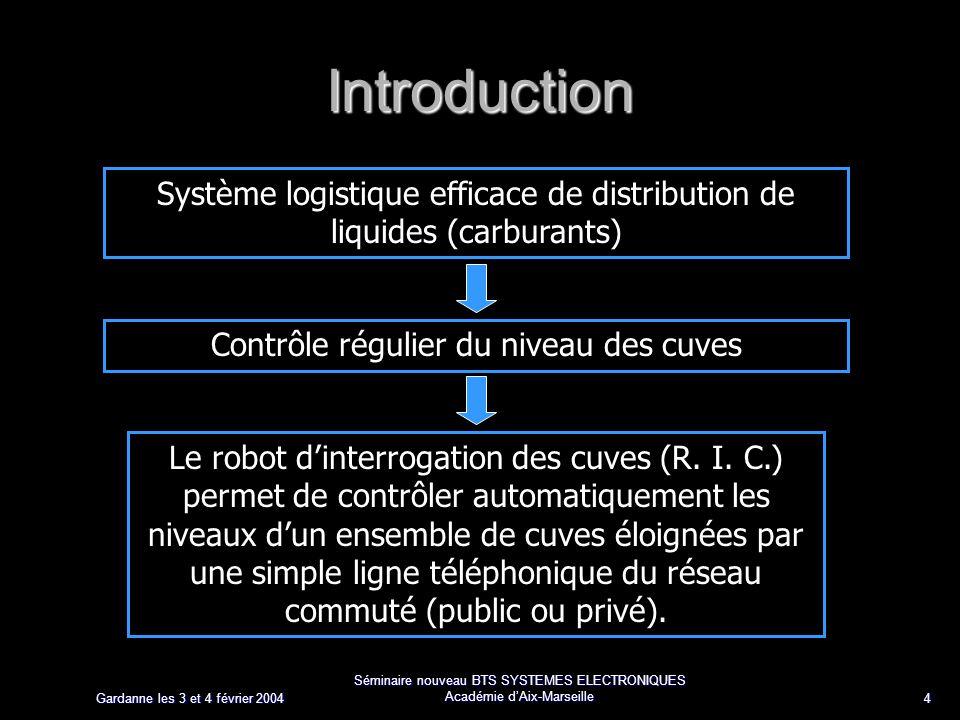 Gardanne les 3 et 4 février 2004 Séminaire nouveau BTS SYSTEMES ELECTRONIQUES Académie dAix-Marseille 4 Introduction Système logistique efficace de distribution de liquides (carburants) Le robot dinterrogation des cuves (R.