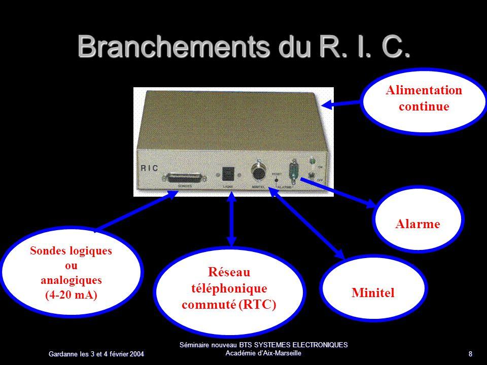 Gardanne les 3 et 4 février 2004 Séminaire nouveau BTS SYSTEMES ELECTRONIQUES Académie dAix-Marseille 8 Branchements du R. I. C. Réseau téléphonique c