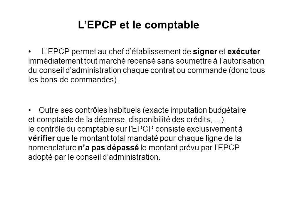 LEPCP permet au chef détablissement de signer et exécuter immédiatement tout marché recensé sans soumettre à lautorisation du conseil dadministration chaque contrat ou commande (donc tous les bons de commandes).