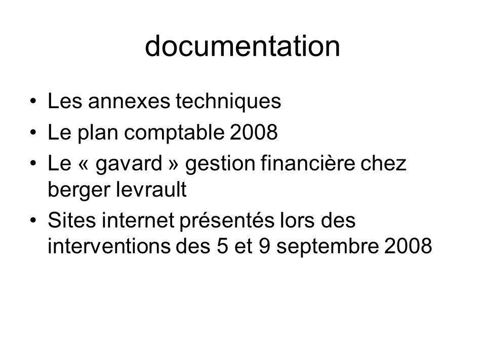 documentation Les annexes techniques Le plan comptable 2008 Le « gavard » gestion financière chez berger levrault Sites internet présentés lors des interventions des 5 et 9 septembre 2008