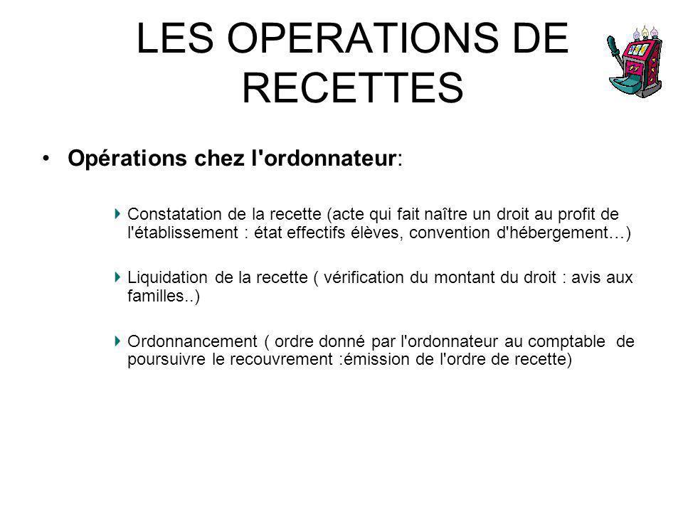LES OPERATIONS DE RECETTES Opérations chez l'ordonnateur: Constatation de la recette (acte qui fait naître un droit au profit de l'établissement : éta