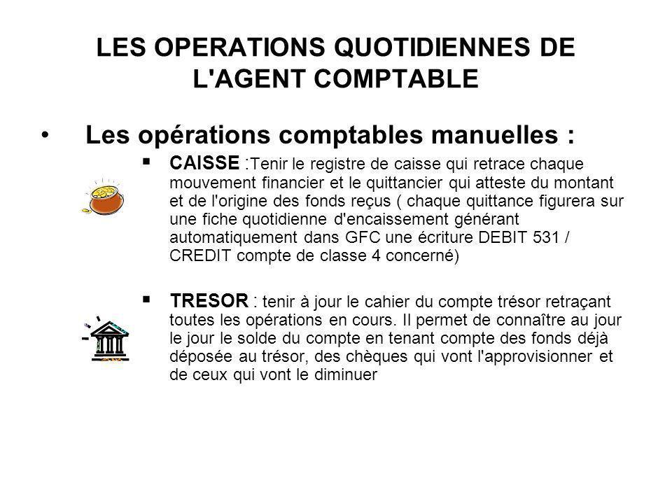 LES OPERATIONS QUOTIDIENNES DE L'AGENT COMPTABLE Les opérations comptables manuelles : CAISSE : Tenir le registre de caisse qui retrace chaque mouveme