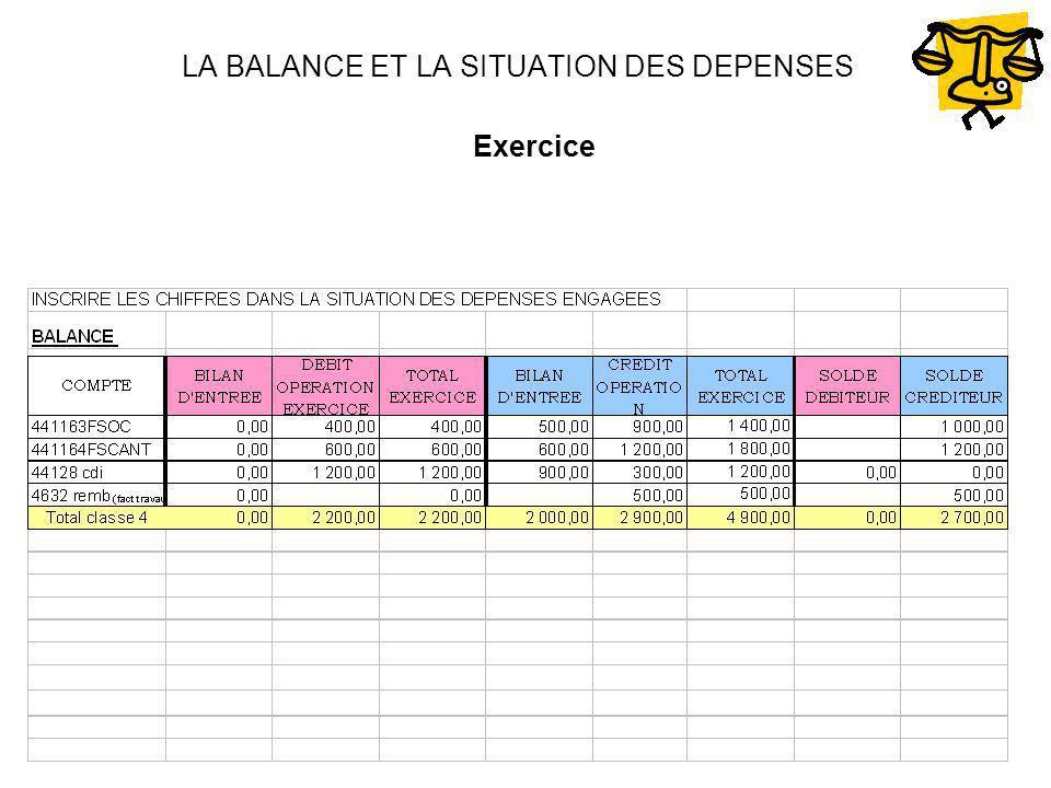 LA BALANCE ET LA SITUATION DES DEPENSES Exercice