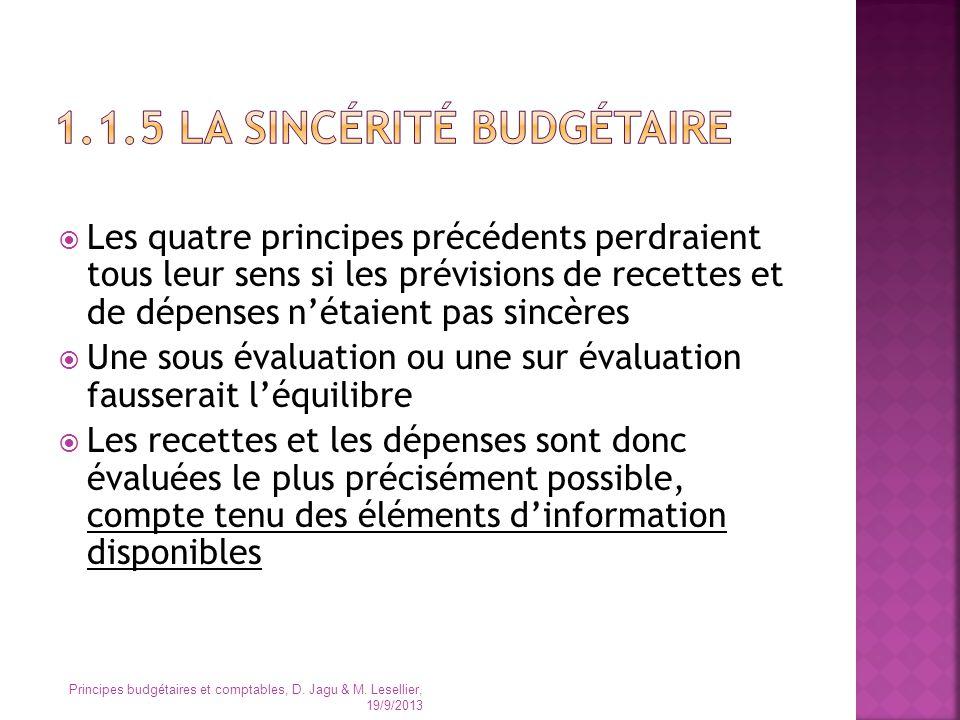 Les quatre principes précédents perdraient tous leur sens si les prévisions de recettes et de dépenses nétaient pas sincères Une sous évaluation ou un
