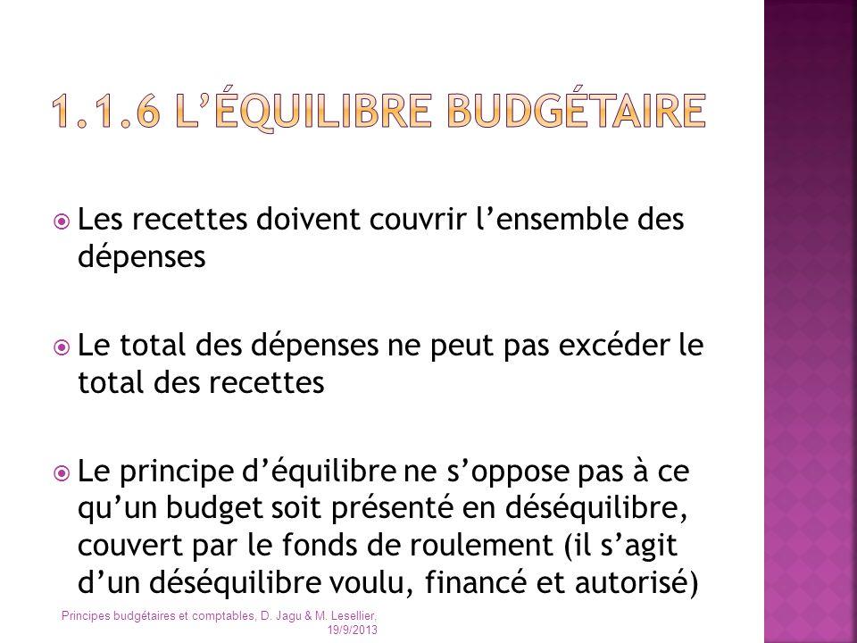 Les recettes doivent couvrir lensemble des dépenses Le total des dépenses ne peut pas excéder le total des recettes Le principe déquilibre ne soppose