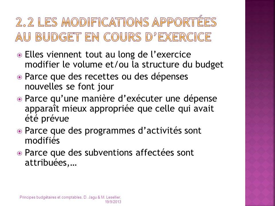 Elles viennent tout au long de lexercice modifier le volume et/ou la structure du budget Parce que des recettes ou des dépenses nouvelles se font jour